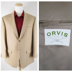 Orvis Tan Brown Camel Hair Sport Coat Jacket 46R